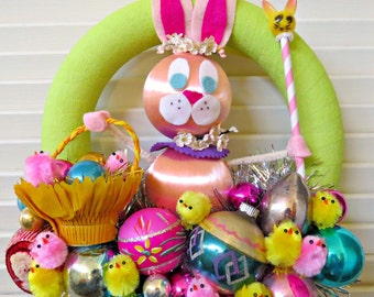 Vintage Easter Springtime  Pink Bunny  and Chicks Wreath CUTIE