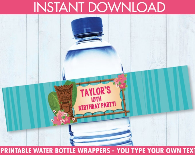 LUAU Water Bottle Wrappers - Hawaiian Party, Birthday Party, Shower, Baby, Bottle Wraps - Editable Text - Instant Download PDF Printable Kit