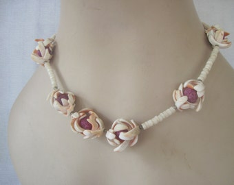 Vintage Floral Necklace made with Sea Shells