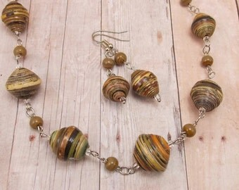 Paper Bead Necklace and Earring Set - Rwandan Paper Beads - Khaki and Brown Stripes