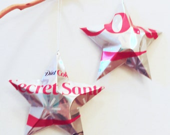 Secret Santa Diet Coke Stars Christmas Ornaments  Soda Can Upcycled Coca Cola, Silver Red