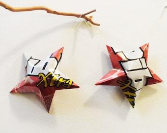 Pibb Xtra, Mr. Pibb,  Stars Christmas Ornaments Soda Can Upcycled Repurposed