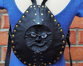 Black Genuine Leather Backpack Rucksack with 3D face. Handmade real leather bag. LARP