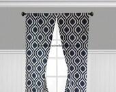 Navy Blue Curtain Panels Lattice Curtains Navy Geometric Curtains Drapery Window Treatments Set Pair Modern Home Decor