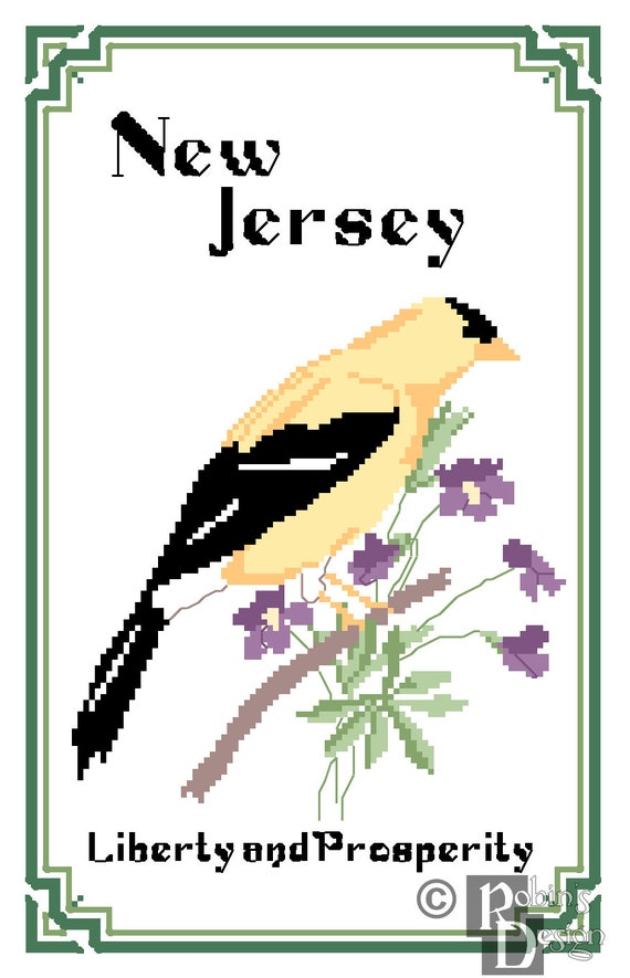 New jersey state bird flower and motto cross stitch for 3d nail art salon new jersey