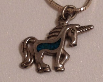 Unicorn Necklace Turquoise Inlay Sterling Silver Chain