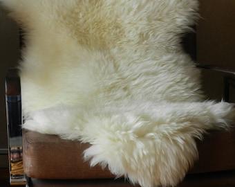 Real Unique Natural Sheepskin Rug, Handmade