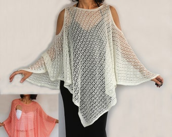 Summer Poncho, Plus Size Knit Tunic Kimono Top, Cream Crochet Coverup Oversized Cape Spring Women Fashion Accessory, Off Shoulder Kaftan