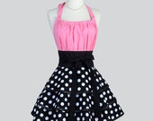 Flirty Chic Apron - Black and White Polka Dots Three Layer Flirty Skirt with Bubblegum Pink Sexy Rockabilly Retro Womens Apron
