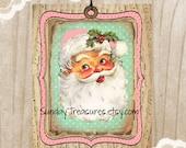 3 Pink Aqua Santa Clause Tags / Pink Hat Music Notes / Retro Vintage Christmas / Lg Favor Bag Gift Tags Label Ornament / 3 DayShip (ref-ts)