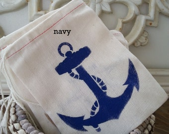 10 Pak NAVY, Red, ANCHOR 4x6 Muslin Drawstring Favor Candy Bags / Kids Birthday / Wedding Baby Shower / Beach Nautical / 3 Day Ship