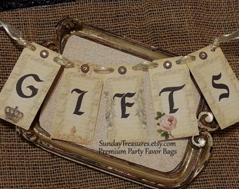 Gifts Banner / Gifts Sign / Garland /  Rustic Vintage Shabby Decoration / CHOOSE TEXT / 3 Day Ship (refCban)