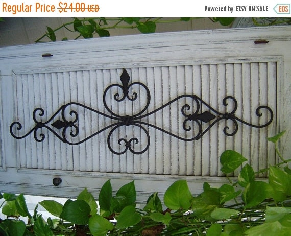 Fall Sale Large Black Architectural Iron Wall Scroll scrolly Sculpture Wall Decor Pediment / Paris Shabby French Country Indoor Outdoor