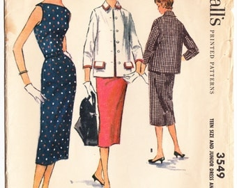 Vintage 1955 McCall's 3549 Sewing Pattern Teen's Dress and Jacket Size 11 Bust 28