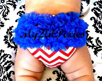 Sale Ready To Ship Forth Of July Baby Bloomer -Red White Blue Chevron Chiffon Ruffle Bum Baby Bloomers Diaper cover nb 0 3 6 9 12 24 Photo P
