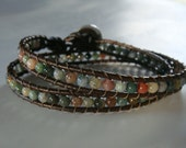 Fancy Jasper Leather Wrap Bracelet with Daisy Button