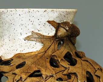 Carved Vase with Oak Leaves/ Acorns and Texture/ Oak leaves/ Wheel thrown/ Large vase/ focal point/ PRP