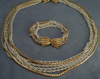 Crown Trifari Six Strand White Chain Necklace & Bracelet Set