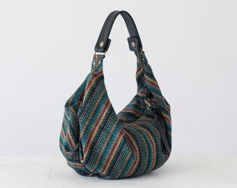 Hobo slouchy bag in stripe wool and black leather, slouch shoulder purse everyday bag - Mini Kallia bag