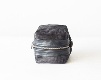 Cosmetic case, makeup bag in black stripe corduroy and black leather accessory bag utility bag zipper pouch -Cube