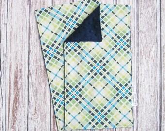 Two Plaid Navy Baby Burp Cloths, Baby Boy Burp Cloth, Minky Baby Burp Cloth, Plaid Burp Cloth