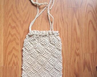 "VINTAGE  Hand Crochet ladies drawstring handbag  purse  No holes rips or tears 12"" X 8"" Vintage ecru color nice find"