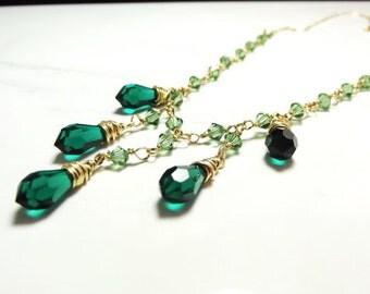 Swarovski Crystal Bib Necklace in 14k gold