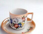 VALENTINES SALE Nippon Demitasse Cup and Saucer,  Peach Floral Lusterware Porcelain,Moriyama,Red Occupied Japan Mark,Blue Red Floral,Vintage