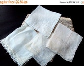 VALENTINES SALE Vintage Hankies, Cotton Embroidered, 1920s, Ladies Accessories, Supplies, Embellished, Vanity, White ecru, Lot of four, Coll