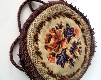 Vintage Round Purse,Made in India,Burgandy Satin,Silk Tapestry Fabric, Embroidered Seed Beads,Looped Silk Edging,Coiled Rope Strap,1950s