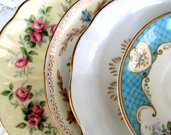 Vintage Bone China Saucers,Mismatched,Royal Albert-Aynsley,1940s,Floral,Dining Serving,Wedding,Table Settings,Estate Collectible,Replacement
