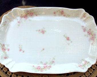 Antique H.&Co.L,Haviland Limoges France Large Porcelain Platter,1889-1896,Pink Chrysanthemum,Rectangular,Dining Serving,Victorian