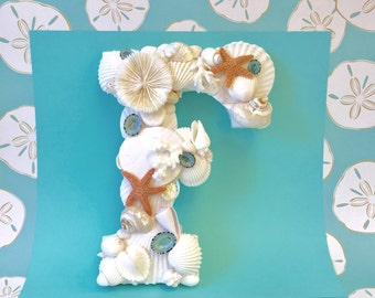 Beach Decor - Large Seashell Letter - All Letters Available - shell letter monogram letter