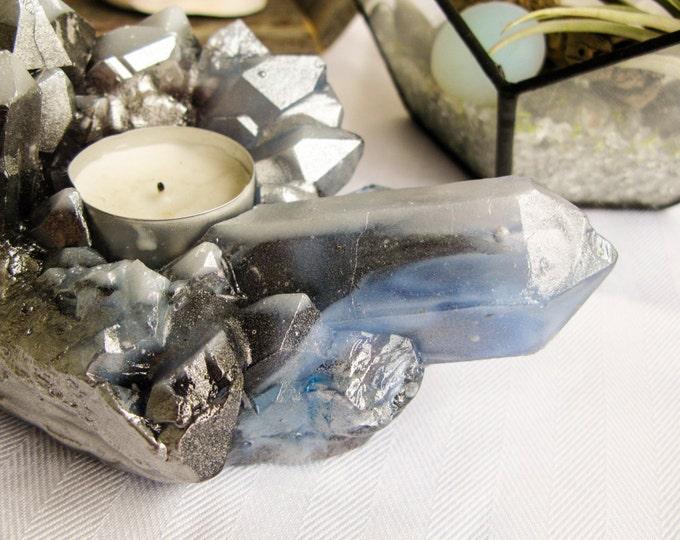 Handmade Cast Glass, Glass Votive Crystal Candle Holder, Faux Quartz Tea Light, Bedroom Décor, Glass Art, Calgary, OOAK, Nature Art
