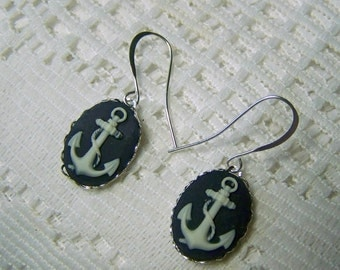 ANCHOR Cameo Earrings - Navy and White French Wire Cameo - anchor jewelry - nautical - US Navy - sailor earrings - sorority jewelry - USN