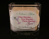One Martini Two Martini Three Martini - Floor - Vodka Martini - Cube Soy Blend Candle -  Square Jar Candle - Cube Candle - Novelty Candle