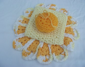 Crochet Set Scrubber/Washrag/Washcloth/TableMat/100% COTTON YARN