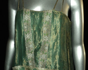 "Antique 1920""s Bellasoiree original Design Metallic Lame Top with Beaded Trim Metallic Gold Lace Art Deco Flapper Edwardian Trim"