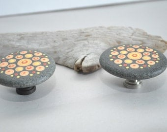 Hand Painted Beach Rock Cabinet Knobs - Mandala