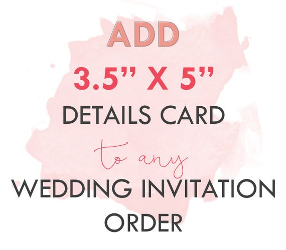 "Add-On 3.5"" x 5"" details card to any basic wedding package"