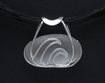 Sea Glass Jewelry - Sterling Caged Large White Sea Glass Wave Necklace