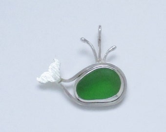 Sea Glass Jewelry - Sterling Green Sea Glass Whale Pendant