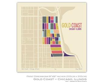 Gold Coast – Chicago, Illinois 12 x 12 Art Map Print