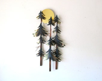 Vintage Jere Metal Wall Art Three Trees and Moon Signed