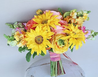 Yellow and Coral Sunflower Summertime Real Touch Flowers Wedding Bouquet