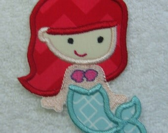 Mermaid Applique Fabric Embroidered Iron On Applique Patch Ready to Ship