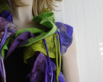 Aubergine Plum  Violet Pink Tobacco Apple green Attractive Ruffled Textured Wool  Felted Scarf