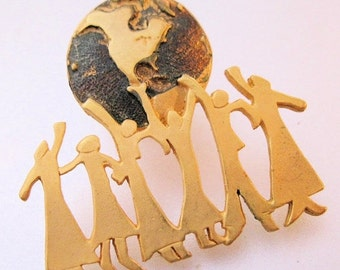 BIGGEST SALE of the Year Vintage We Are The World Peace Pin Brooch Enamel Costume Jewelry Jewellery