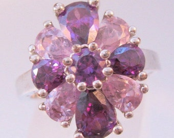 BIGGEST SALE of the Year Vintage Amethyst Crystal Rhodium Plated Cluster Ring Size 8.5 Pear Shaped Costume Jewelry Jewellery