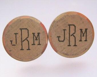 JRM Monogrammed Cuff Links Cufflinks ANSON Gold Filled Vintage Jewelry Jewellery